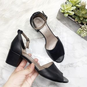 AGL Leather Block Heel Ankle Strap Shoes
